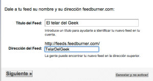 Nombre y dirección del feed