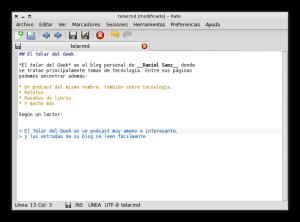 El editor de textos de KDE, Kate, con la sintaxis coloreada