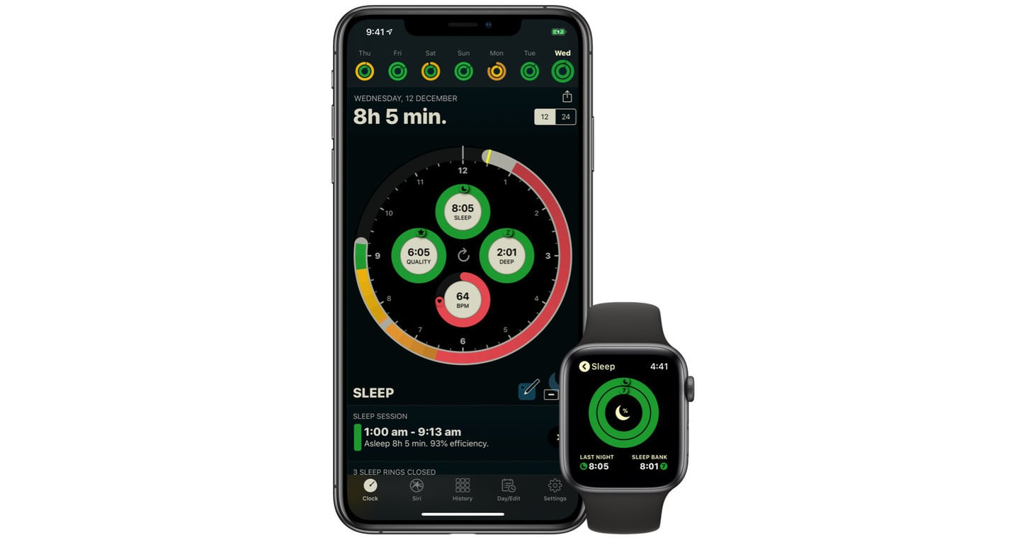 App Auto Sleep en un iPhone y en un Apple Watch