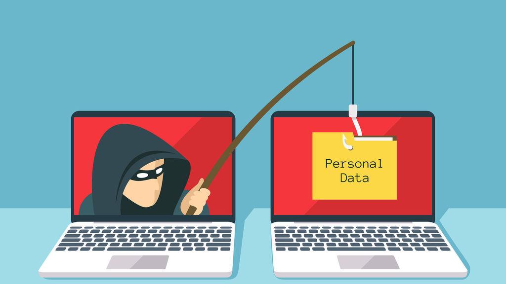 Dibujo de un hacker simulando robar datos