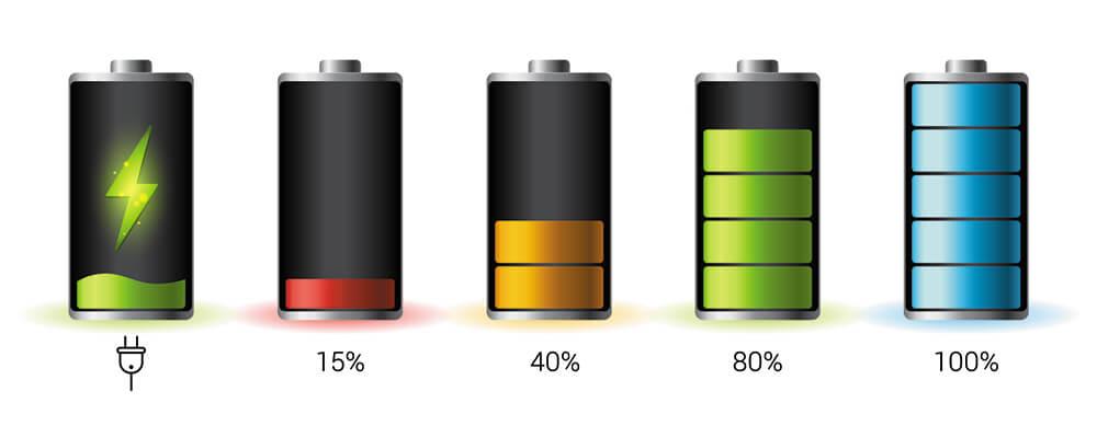 Distintos porcentajes de batería de los móviles