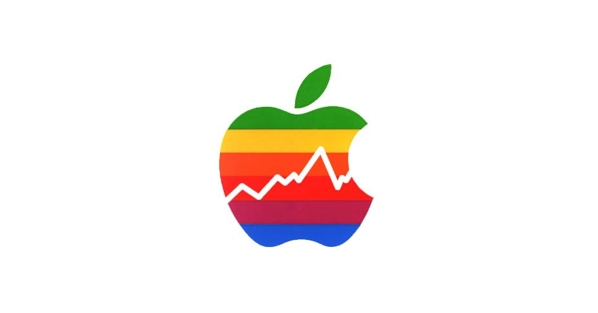 Logotipo de Apple multicolor con gráfica de bolsa