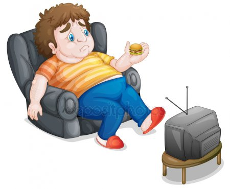 Joven obeso comiendo y viendo la tele